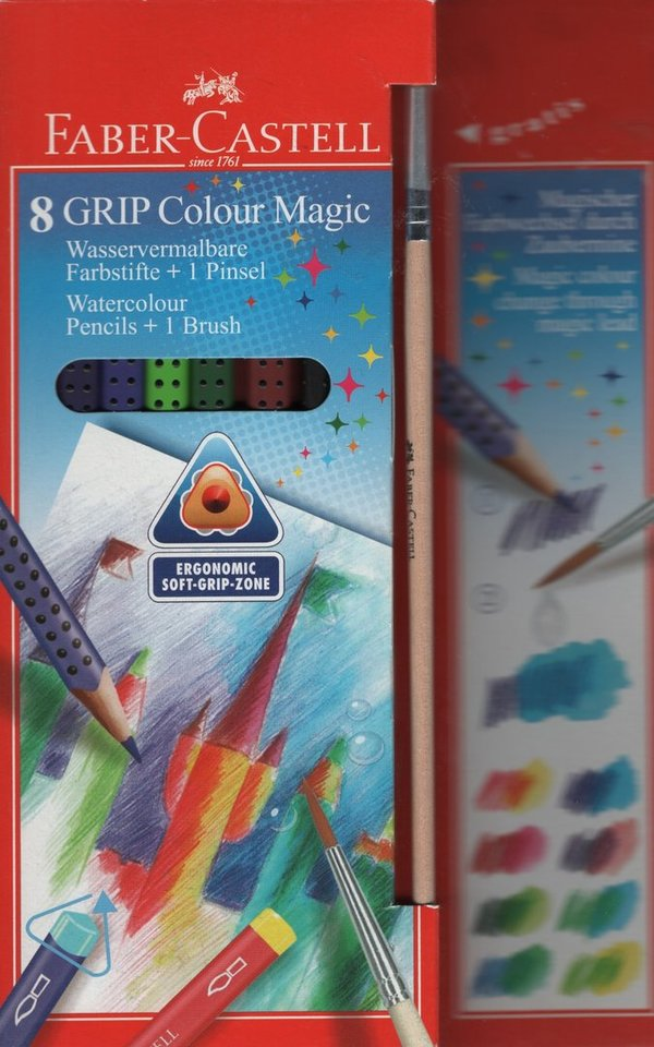 Faber Castell Farbstift Grip Colour Magic 8er Etui Farbstifte sowie Pinsel